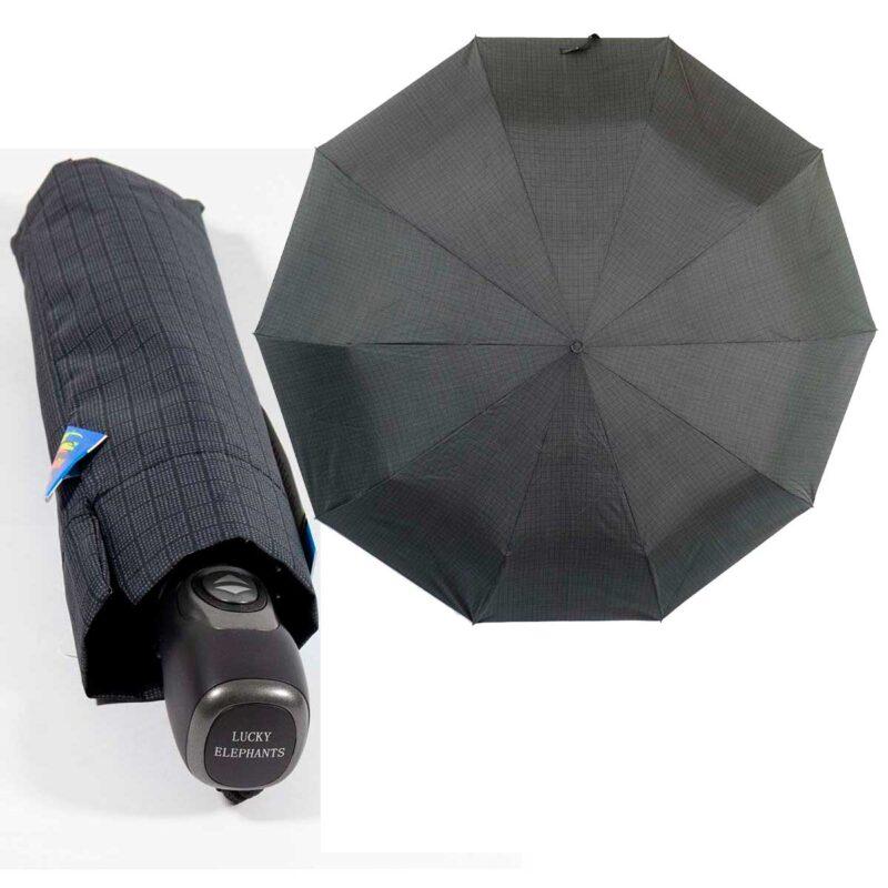 Темно-серый зонт полный автомат в мелкую клетку