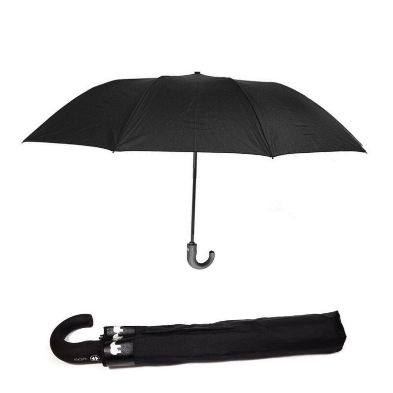 Мужской зонт Три Слона 2 сложения полный автомат черного цвета