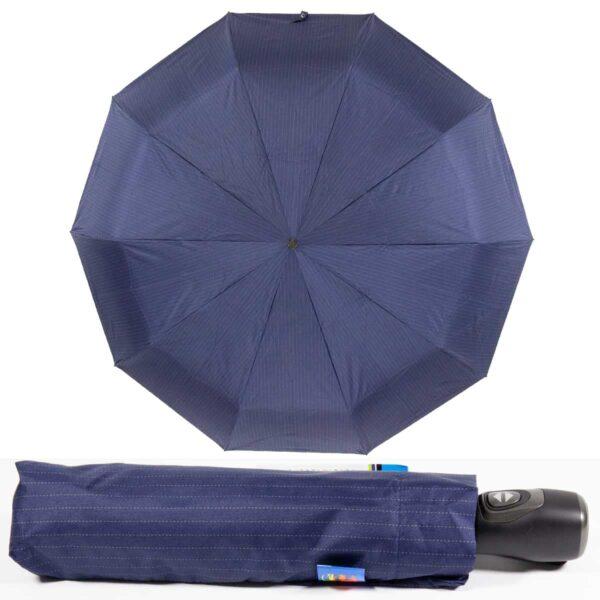 Темно-синий зонт полный автомат в мелкую полоску
