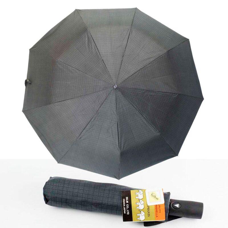 Зонт полуавтомат в клетку серого цвета