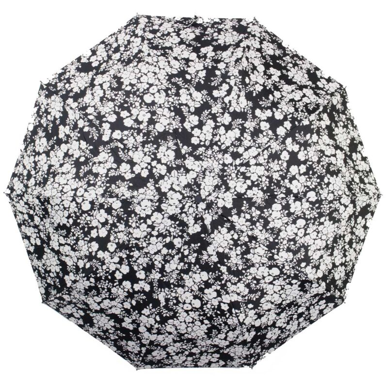 ЖенЗонт полный автомат черно-белый цветы-Koboldский зонт полный автомат с орнаментом |Kobold