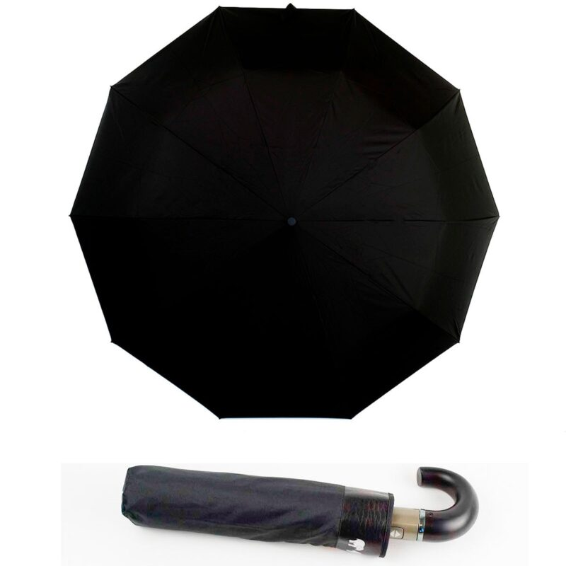 Мужской зонт полный автомат черного цвета-Три Слона