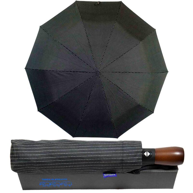 Зонт Три Слона с деревянной ручкой черного цвета в мелкую полоску