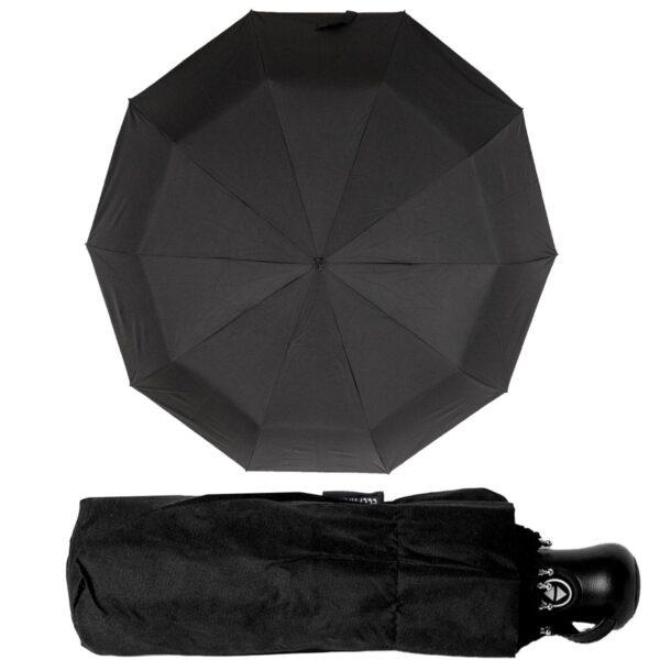 Мини зонт полный автомат черного цвета