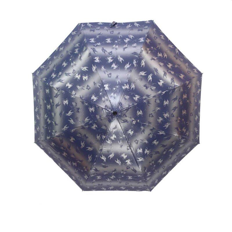 Зонт лаке серебристо-синий цвет полный автомат бабочки-Три Слона